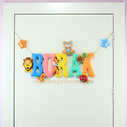 Burak isimli isimlik bebek odası kapı süsü