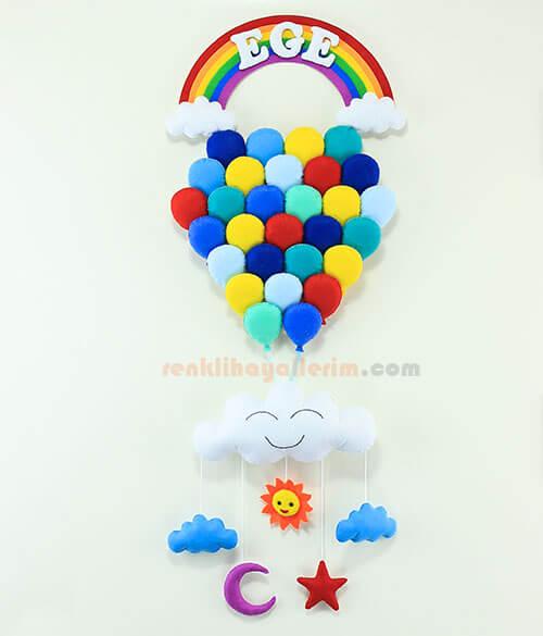 Ege isimli mavilikler çoklu balon bebek odası kapı süsü