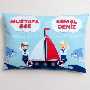Mustafa Ege Kemal Deniz Denizci Kardeş Takı ve Süs Yastığı