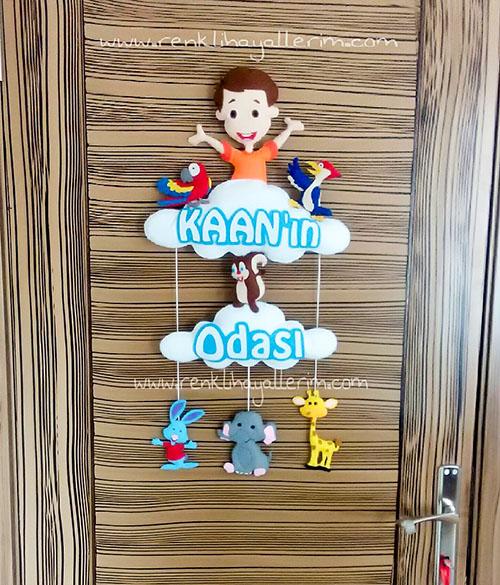 Kaan isimli çocuk odası kapı süsü