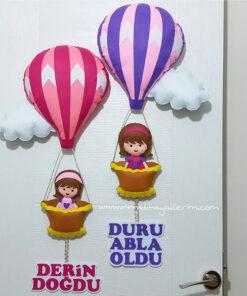 Duru Derin Balonlu Kardeşler balonlu Kapı Süsü