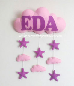 Eda Bebek Bulut Yıldız Pembe Mor kapı süsü - Eda isimli bebek kapı süsü modelleri