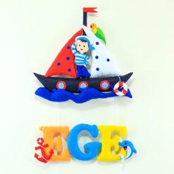 Ege isimli Dolgulu Harfli Denizci Çocuk Kapı Süsü