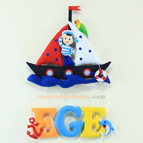 Ege isimli Denizci Dolgulu Bebek kapı süsü