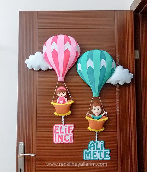 Elif inci Ali Mete isimli kardeş bebek kapı süsü balonlu