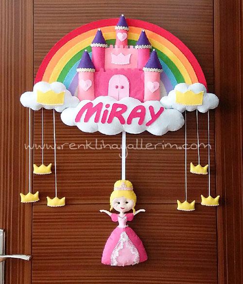 Miray isimli şato kapı süsü bebek süsü