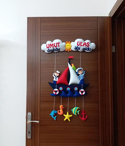 Umut Ulaş Kardeş Denizci Bebek Kapı Süsü