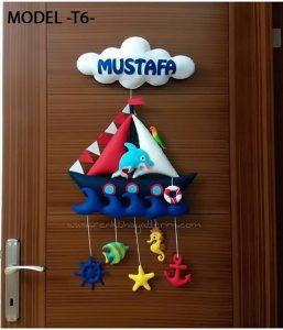 Mustafa bebek isimli denizci kapı süsü - Mustafa isimli bebek kapı süsü modelleri