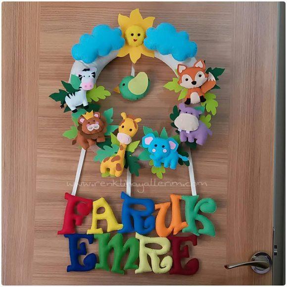 Faruk Emre bebek isimli safari kapı süsü