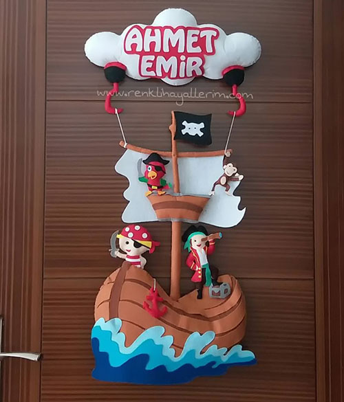 Ahmet Emir Korsan Kapı Süsü - Emir isimli bebek kapı süsü modelleri