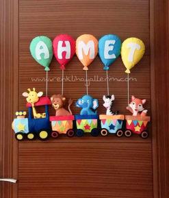 Ahmet İsimli Tren Bebek Kapı Süsü - Trenli Kapı Süsü