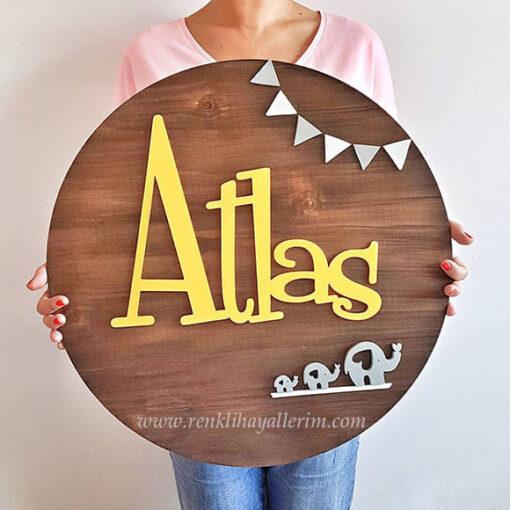 Atlas Pano Ahşap Bebek Kapı Süsü