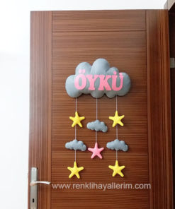 Gri Pembe Bulut Kapı Süsü - Öykü isimli bebek kapı süsü modelleri