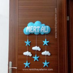 Mert Ali isimli Bulutlu Çocuk Odası Kapı Süsü - Mert isimli bebek kapı süsü modelleri