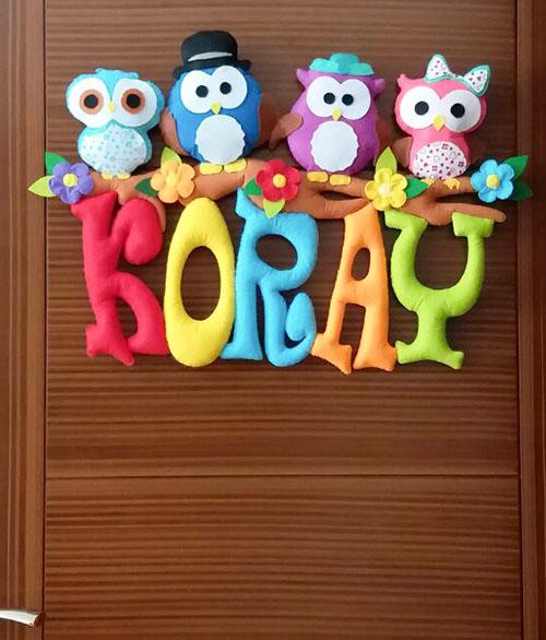 Koray isimli baykuşlar kapı süsü - Baykuşlar Bebek Kapı Süsü