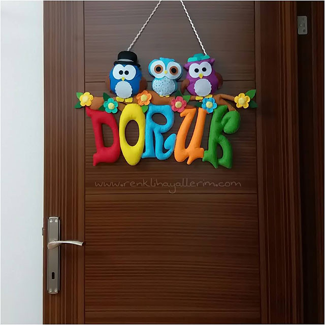 Doruk isimli bebek kapı süsü