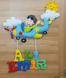 Ali Emir Bebek Uçak Pilot Kapı Süsü - Ali isimli bebek kapı süsü