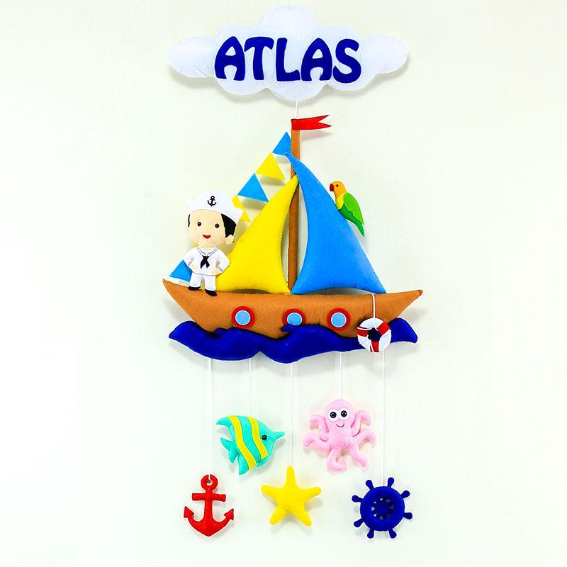 Atlas isimli Kahverengi Denizci Bebek Odası Kapı Süsü