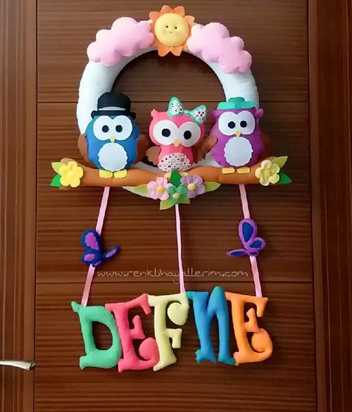 Defne isimli hastane odası kapı süsü - Defne isimli bebek kapı süsü modelleri