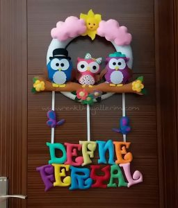 Defne Feryal Baykuş Kapı Süsü - Feryal isimli bebek kapı süsü modelleri