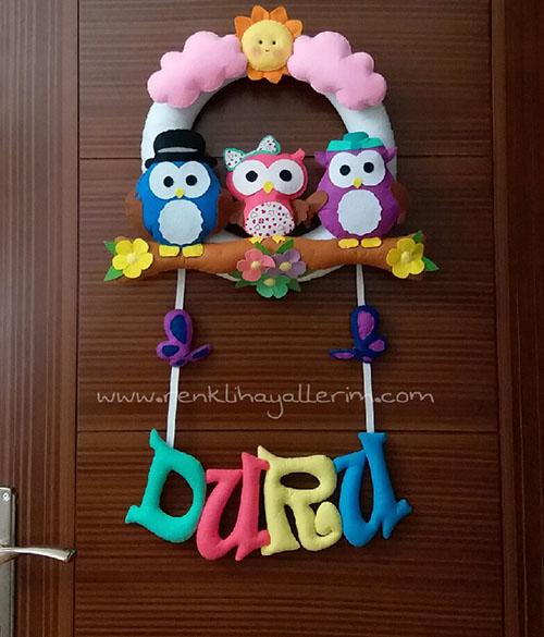 Duru isimli Baykuş Ailesi Kız Bebek Simit Kapı Süsü - Duru isimli kapı süsü modelleri