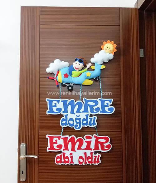 Kardeşler Uçak Kapı Süsü - Emre isimli bebek kapı süsü modelleri