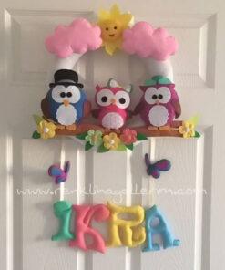 İkra bebek 3 baykuş kapı süsü