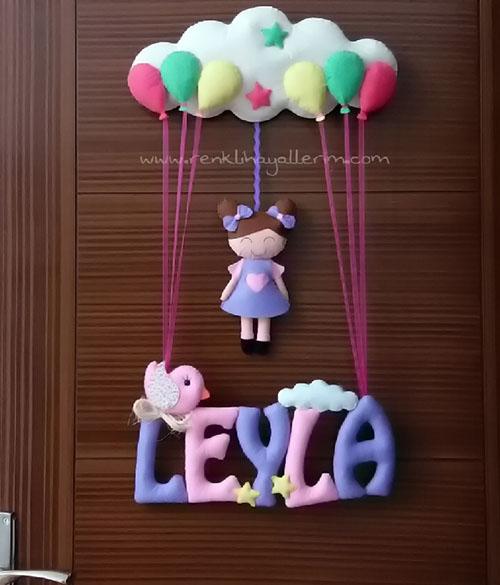 Leyla isimli pembe mor kız çocuk kapı süsü hastane yeni doğan