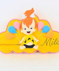 Çakıl Figürlü Bebek Takı ve Süs Yastığı - Mila