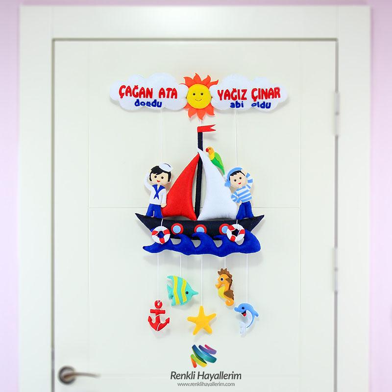 Denizci Kardeşler Bebek Odası Kapı Süsü