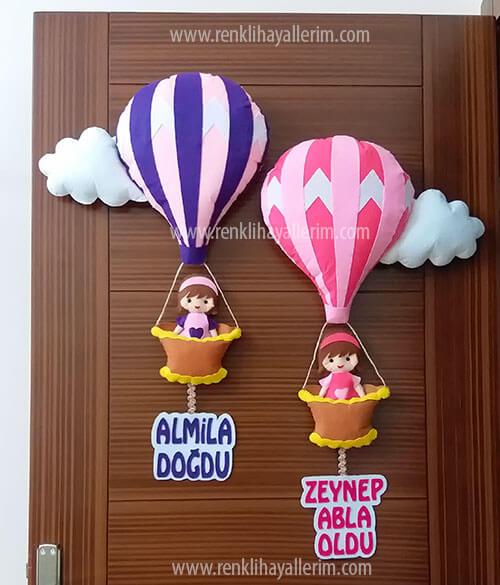 Almila Zeynep kardeş balonlu kapı süsü