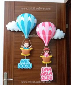Anıl Lina kardeş balonlu kapı süsü