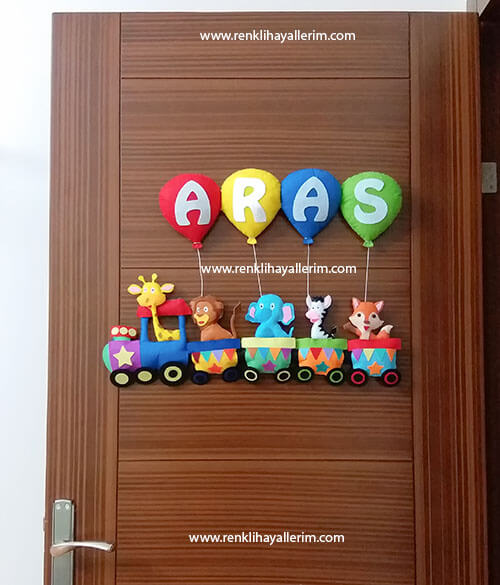 Aras isimli bebek odası kapı süsü trenli