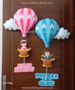 Aysu Poyraz kardeş balonlu kapı süsü