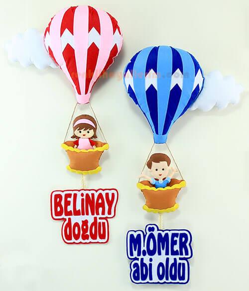 Belinay ve Ömer kardeşler çoklu balon bebek kapı süsü