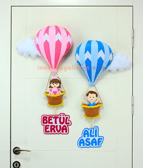 Betül ve Ali Asaf isimli Balonlar Kardeş Kapı Süsü