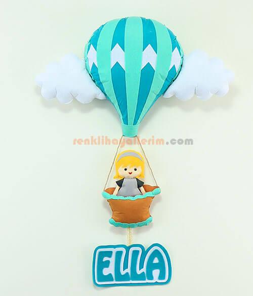 Ella isimli Yeşil Balonlu Bebek Kapı Süsü