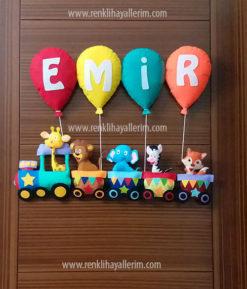 Emir isimli trenli erkek bebek kapı süsü