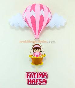 Fatıma isimli Pembe Balonlu bebek kapı Süsü