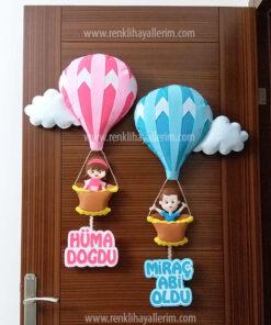 Hüma Miraç kardeş balonlu kapı süsü
