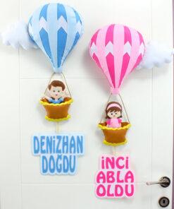 Kardeşler Balonlu Bebek Kapı Süsü