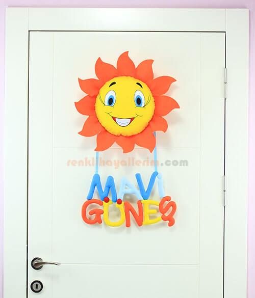 Mavi Güneş isimli Güneş Kapı Süsü Kapı
