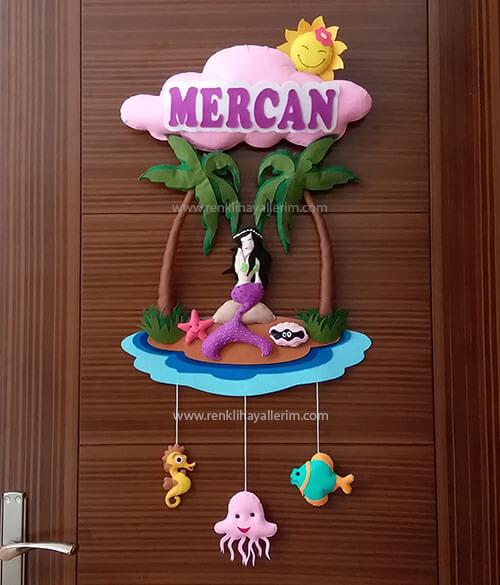 Mercan isimli deniz kızı bebek kapı süsü - Deniz Kızı Kapı Süsü