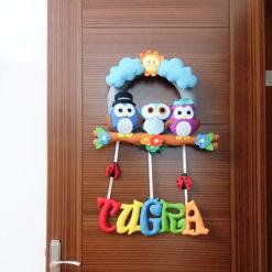 Tuğra isimli baykuş bebek kapı süsü Tuğra isimli bebek kapı süsü modelleri