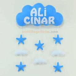 Ali Çınar isimli Mavi Beyaz bulut bebek kapı süsü