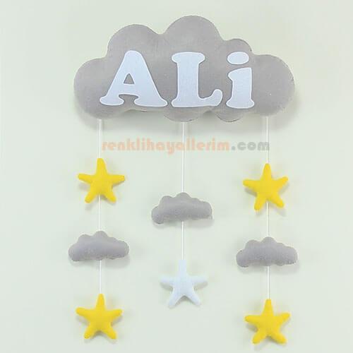 Ali isimli gri beyaz bulut bebek kapı süsü