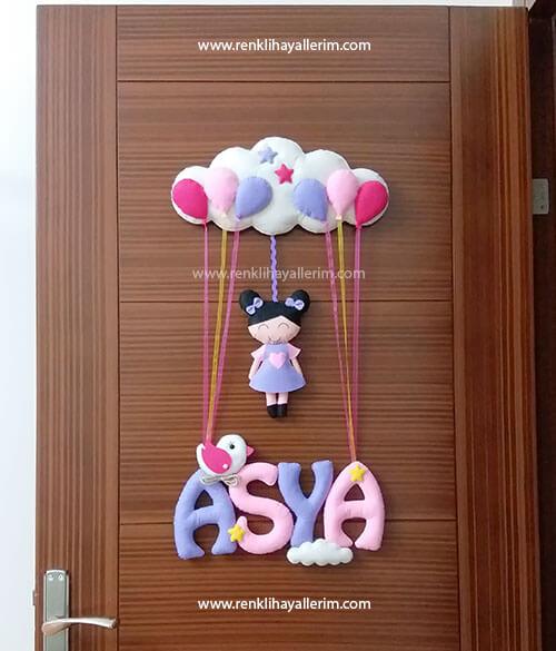 Asya kız bebek pembe mor kapı süsü