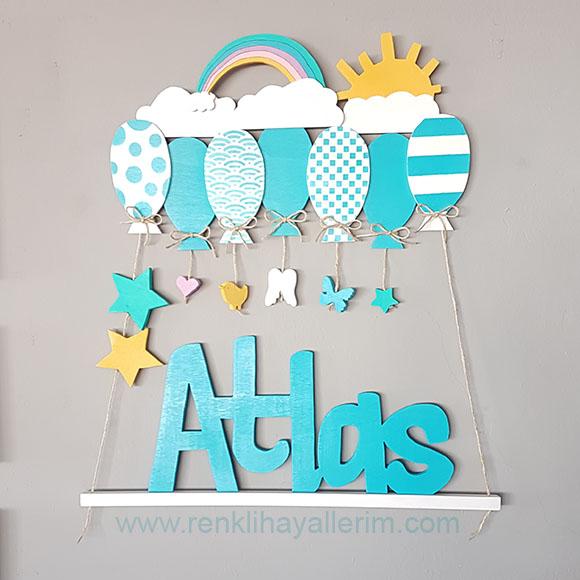 Atlas isimli ahşap balonlu sarkıt kapı süsü