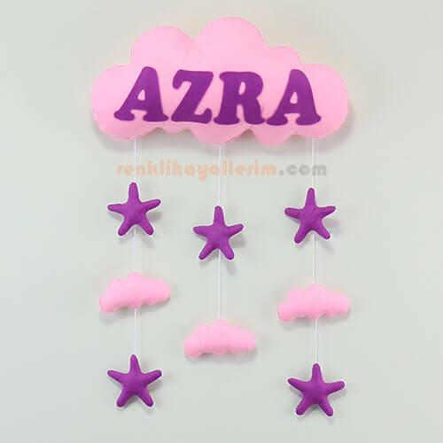 Azra isimli pembe mor bulut kapı süsü