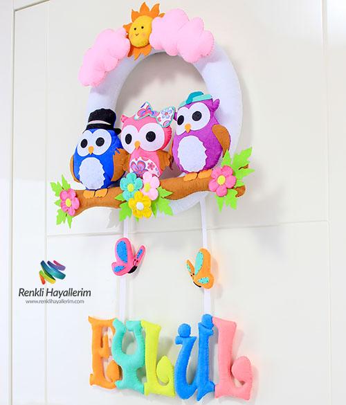 Baykuş Kız Bebek Kapı Süsü Eylül
